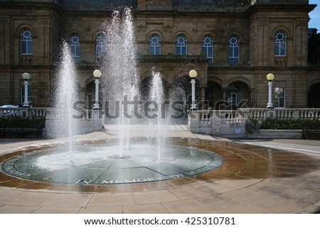 SOUTHPORT, UK - MAY 23, 2016: Fountain, Lord Street. Southport is a large seaside town in the Metropolitan Borough of Sefton, Merseyside, England - stock photo