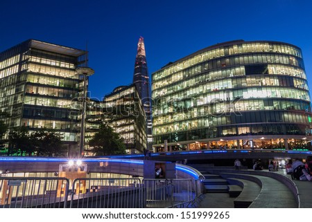 Southwark skyscrapers at night, London - stock photo