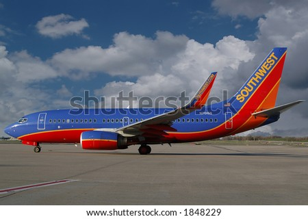 Southwest airlines aiplane on the ramp - stock photo