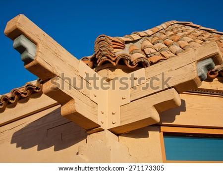 Southwest architecture against a vivid blue sky. - stock photo