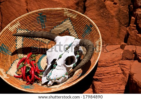 Southwest culture in the red rock mountains of New Mexico. - stock photo