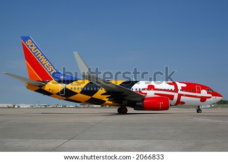 "Southwest special painted plane ""Maryland One"" - stock photo"