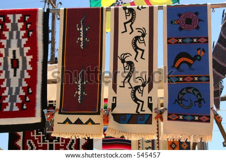 Southwest textiles in Antelope Valley, California. - stock photo