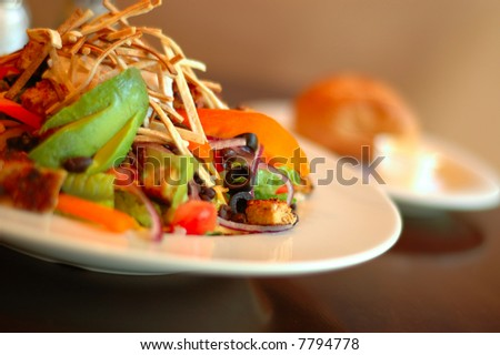 Southwestern tortilla salad with avocado and black olives - stock photo