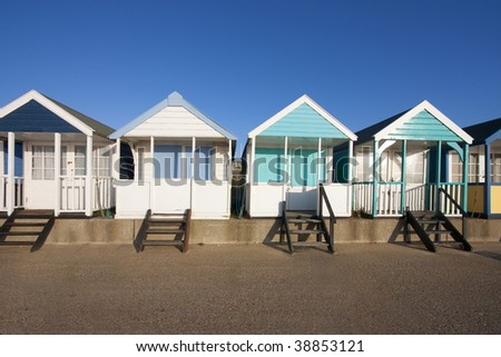 southwold beach hut by the beach at dawn - stock photo