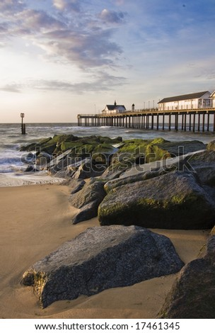 southwold pier at dawn - stock photo