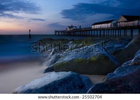Southwold pier at sunrise - stock photo