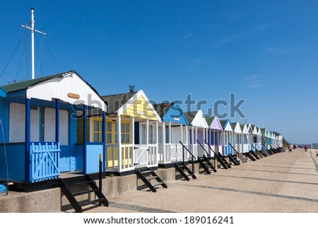 SOUTHWOLD, SUFFOLK/UK - JUNE 2 : A row of beach huts in Southwold on June 2, 2010. Unidentified people.