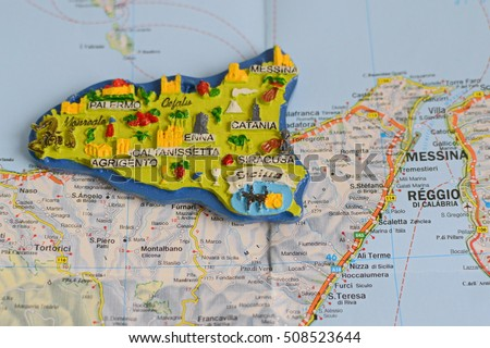Souvenir sicily italy on map stock photo royalty free 508523644 souvenir from sicily italy on the map gumiabroncs Image collections