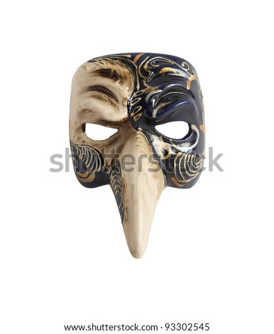 Souvenir from Venice. Classical venetian Doctor Mask with long nose. Isolated on white with clipping path - stock photo