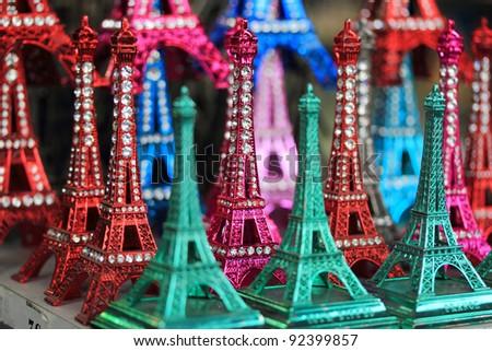 souvenir of mini eiffel tower from paris france - stock photo