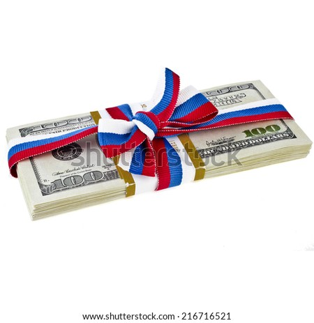 souvenir pack dollar banknotes tied with a bow ribbon Russian  isolated on a white background - stock photo