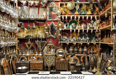 Souvenir shop in the medina of Marrakech, Morocco - stock photo