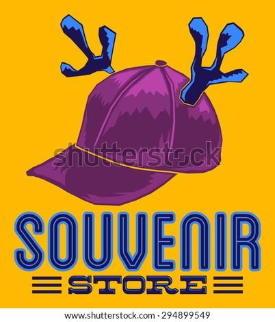Souvenir Store emblem sign illustration - cap with reindeer horns - poster card template - stock photo