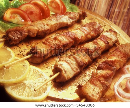 Souvlaki - skewer. - stock photo