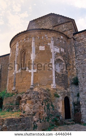 Sovana (Grosseto, Tuscany, Italy) - The apse of the ancient church - stock photo