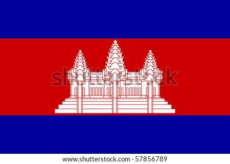 Sovereign state flag of country of Cambodia in official colors. - stock photo