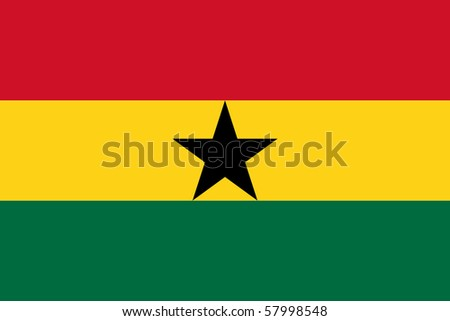 Sovereign state flag of country of Ghana in official colors. - stock photo