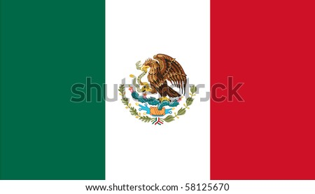 Sovereign state flag of country of Mexico in official colors. - stock photo