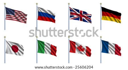 Sovereign-state flags of the G8 countries waving in the wind - stock photo