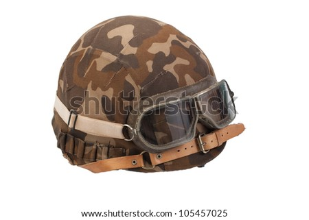 soviet army camouflaged helmet with goggles isolated on white - stock photo