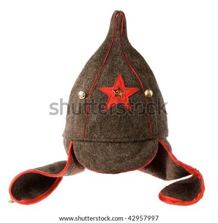 """soviet army cap """"Budenovka"""" - stock photo"""