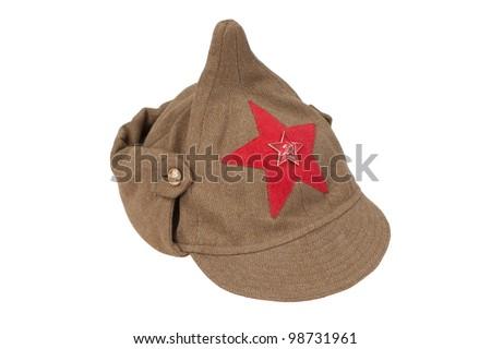 "soviet army cap ""Budenovka"" isolated on white background - stock photo"