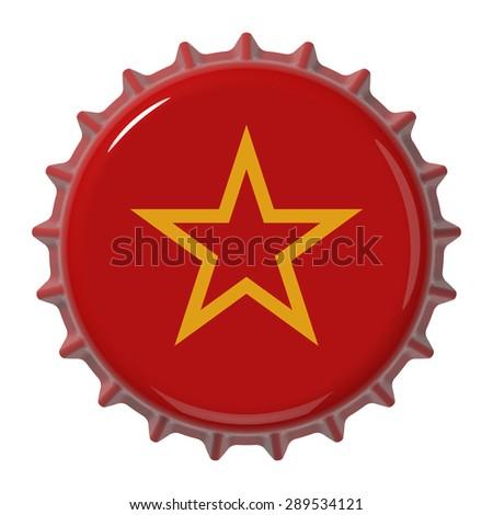 Soviet Army flag on bottle cap. 3D rendering - stock photo