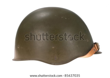 Soviet army helmet  isolated on white - stock photo