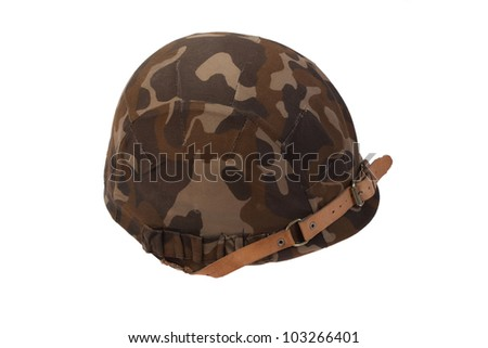 Soviet army helmet  with camouflaged cover  isolated on white - stock photo