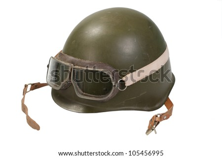 soviet army helmet with goggles isolated on white - stock photo