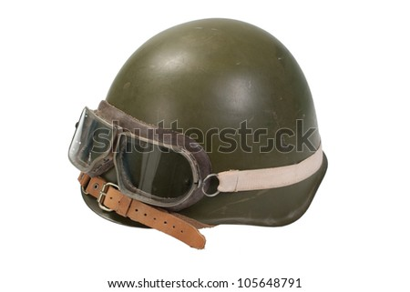 soviet army mechanized infantry helmet with goggles isolated on white - stock photo