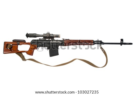 soviet army sniper rifle with optic sight - stock photo