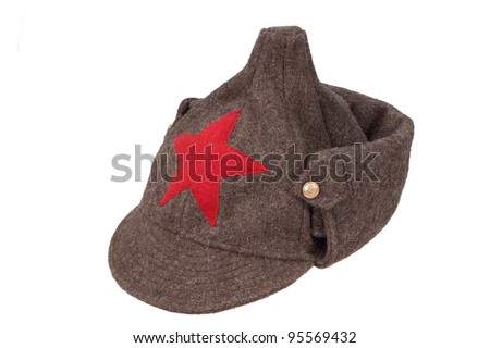 "soviet army winter cap ""Budenovka"" isolated on white background - stock photo"