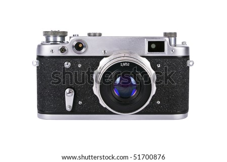 Soviet built range finder camera with 52mm f2,8 lens. Both yellow and green spots are visible in range fiders windows - stock photo