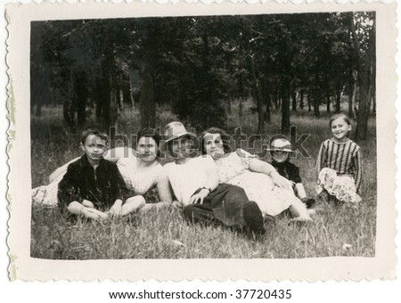 Soviet citizens at the picnic. 50-s XX Century, USSR.