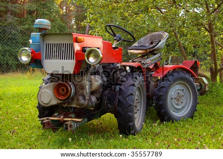 soviet compact utility tractor - stock photo