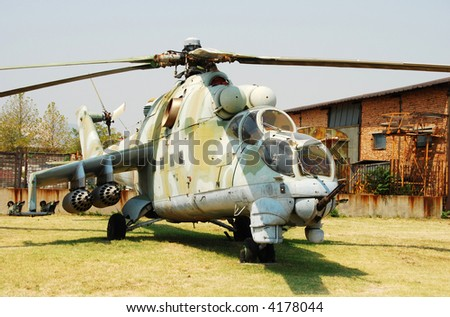 Soviet era attack helicopter Mi-24 - stock photo