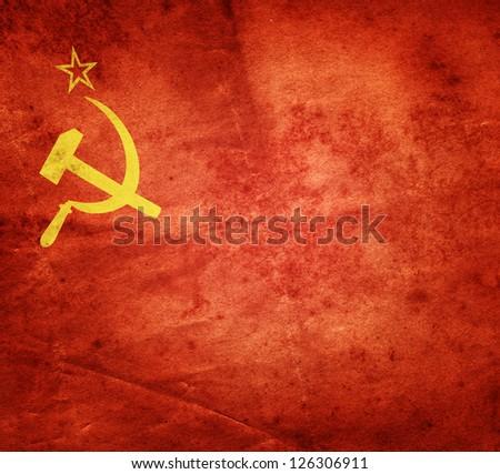 Soviet Flag grange - stock photo
