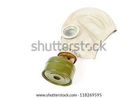 Soviet gas mask isolated over white background - stock photo