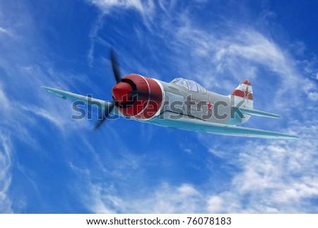 Soviet military fighter in the sky La-7 - stock photo