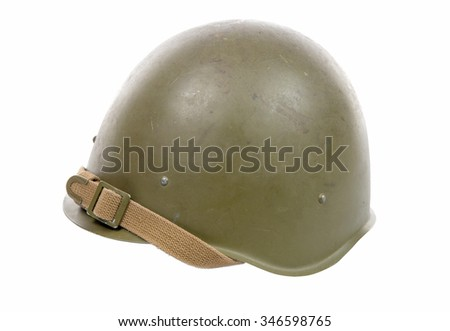 Soviet military helmet isolated on a white background - stock photo