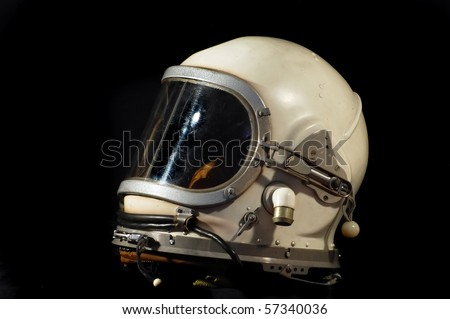 Soviet military pilot  helmet - stock photo