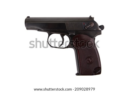 Soviet 9mm makarov handgun isolated on white background