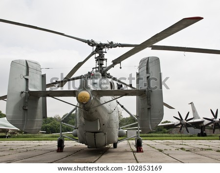 Soviet  naval helicopter Ka-27 Helix on airfield - stock photo