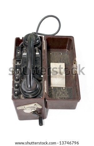 Soviet portable telephone set of local battery system (TAI-43). Model 1943. USSR/Russia - stock photo