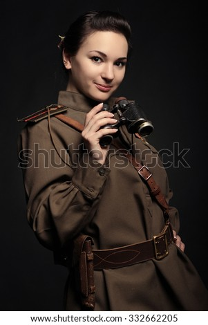 Soviet soldier girl - stock photo