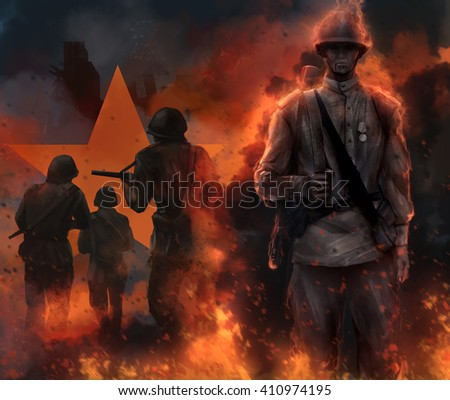 Soviet soldier standing in fire. Illustration of a mystic soviet soldier standing in fire and fog with running warriors and red star behind him.