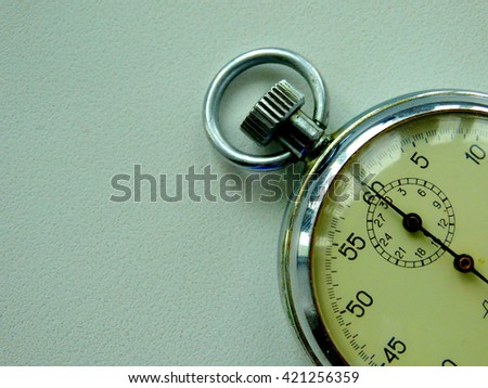 Soviet stopwatch to measure time old clock face - stock photo