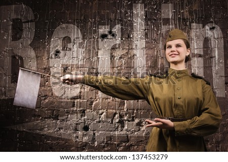 Soviet traffic controller in uniform of World War II - stock photo